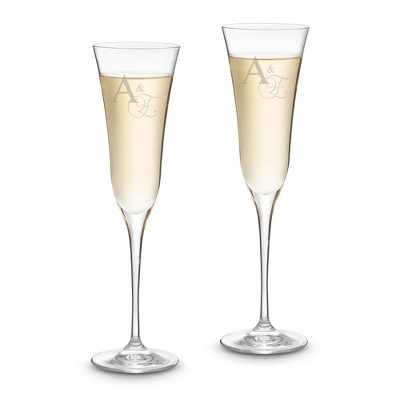 Engraved Crystal Champagne Flutes - Two Lines Included