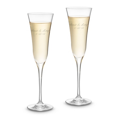 Engraved Crystal Champagne Flutes with Special Name & Date - $40.00
