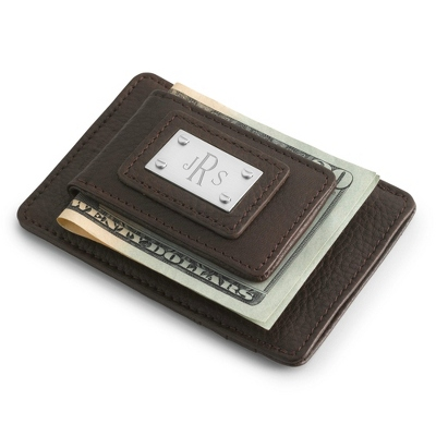 Engraved Brown Duo Money Clip - Initials or Monogram