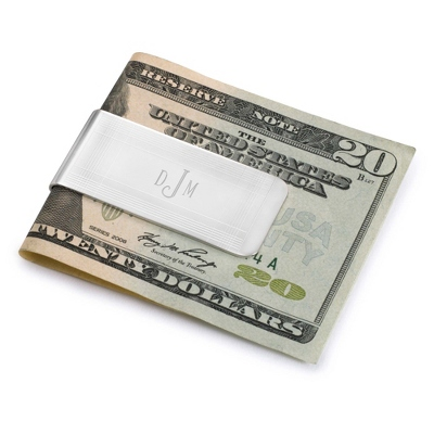 Engraved Marvin Money Clip-Initials or Monogram and Text