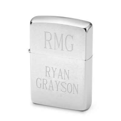 Engraved Chrome Zippo - Initials & Two Lines