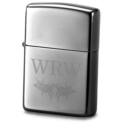 Engraved Ice Zippo Lighter - Initials & Scroll Design