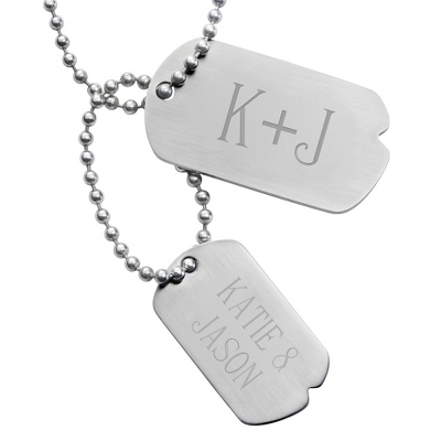 Engraved Double Dog Tags with Initials & Personalized Lines