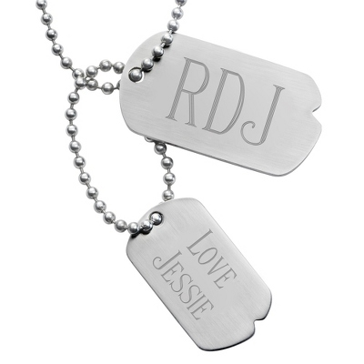 Engraved Double Dog Tags with Large Initials & Two Lines