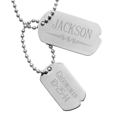 Engraved Double Dog Tags - Name with Design & Two Lines