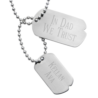 Engraved Double Dog Tags - Two Engraved Lines on Both Tags