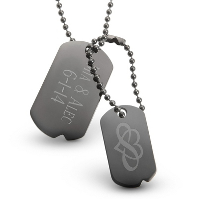 Engraved Gunmetal Dog Tags - Two Engraved Lines & Design