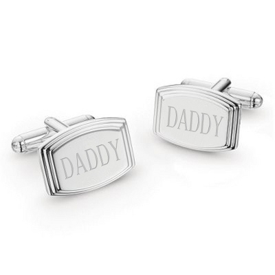 "Engraved Silver Cuff Links with ""Daddy"""