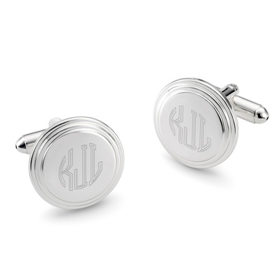 Engraved Round Step Cuff Links with Monogram