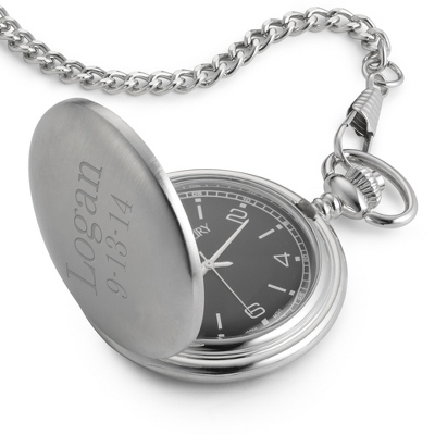 Engraved Black Pocket Watch with Name and Date