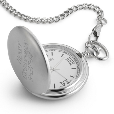 Engraved White Pocket Watch with Three Personalized Lines