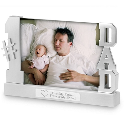 Personalized Dad Float Frame With Engraving and Hearts