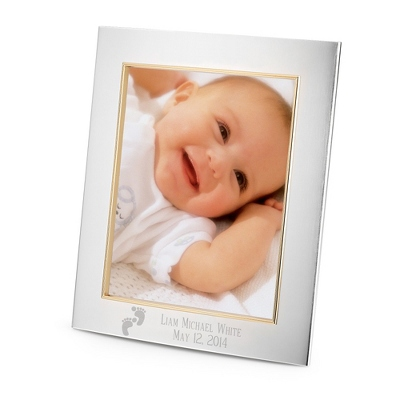 Silver 8x10 Portrait Frame - Engraving & Footprints Design