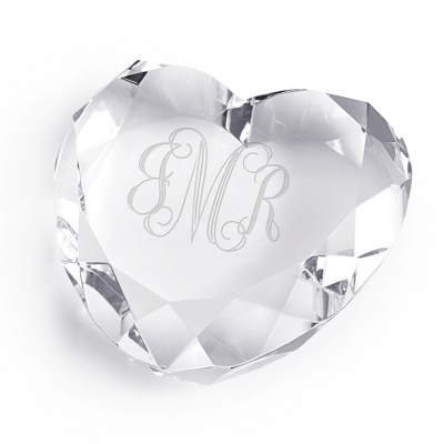 Engraved Heart Paperweight with Monogram - Business Gifts For Her