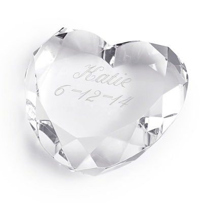 Engraved Heart Paperweight With Name and Date - Business Gifts For Her