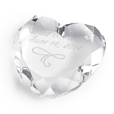 Engraved Heart Paperweight with Scroll and Engraving - Business Gifts For Her
