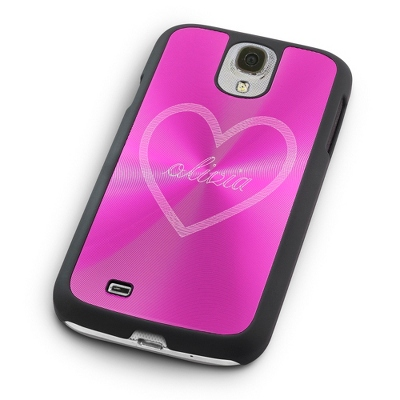 Personalized Pink Samsung Case with Name in Heart Design