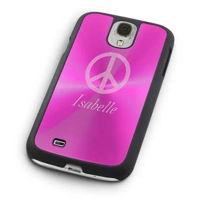 Personalized Pink Samsung Case with Name under Peace Sign - $25.00