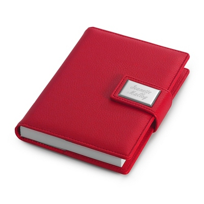 Small Red Personalized Journal - Name or Two Engraved Lines