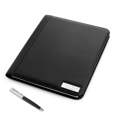 Personalized Black Padfolio with Two Lines for Engraving - UPC 825008041783