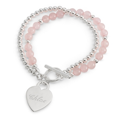 Rose Quartz Toggle Bracelet with Name & Two Engraved Lines