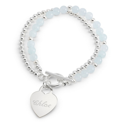 Blue Jade Toggle Bracelet with Name and Two Engraved Lines - Fashion Bracelets & Bangles