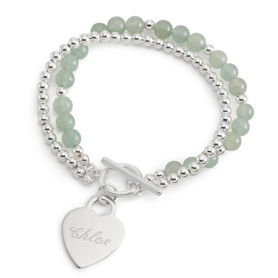 Aventurine Toggle Bracelet with Name and Two Engraved Lines - $24.99