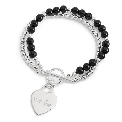 Black Agate Toggle Bracelet with Name and Two Engraved Lines - $24.99