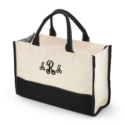 Embroidered Canvas Tote Bag with Monogram