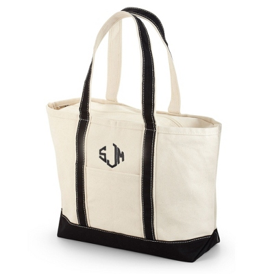 Embroidered Black Canvas Boat Tote with Monogram