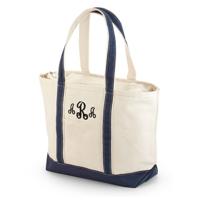 Embroidered Navy Canvas Boat Tote with Monogram