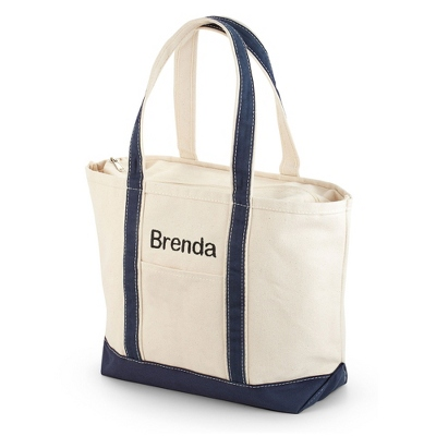 Embroidered Navy Canvas Boat Tote with Name Included