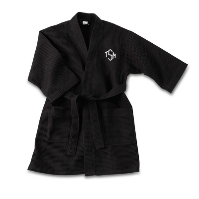 Black Embroidered Kimono Robe with Diamond Monogram - UPC 825008043428