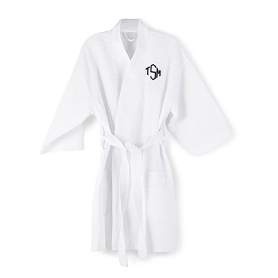 White Embroidered Kimono Robe with Diamond Monogram