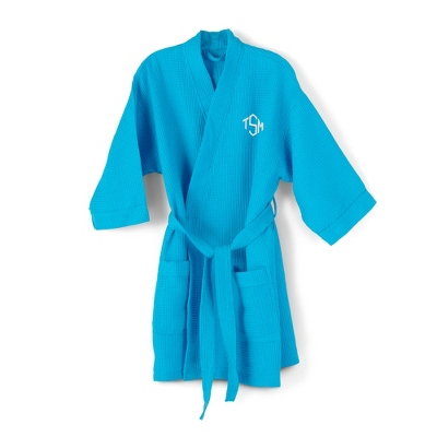 Blue Embroidered Kimono Robe with Diamond Monogram