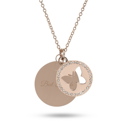 Butterfly Rose Gold Swing Necklace with complimentary Filigree Heart Box - Fashion Necklaces