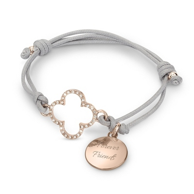 Rose Gold Quatrefoil Friendship Bracelet with complimentary Filigree Keepsake Box