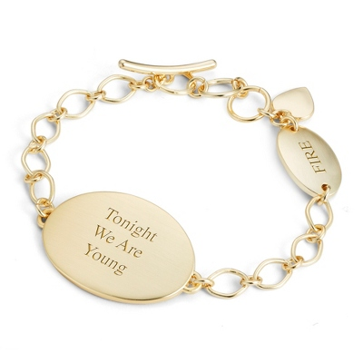 Gold Double Plaque ID Bracelet with complimentary Filigree Keepsake Box