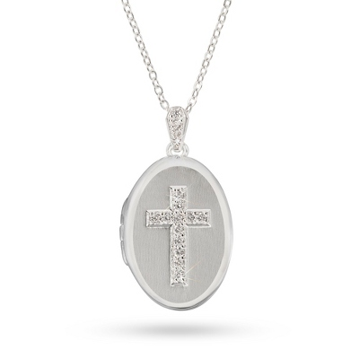 Personalized Polished Silver Cross Locket with complimentary Filigree Heart Box - UPC 825008044876