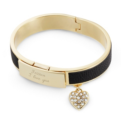 Gold and Black Leather Bangle with complimentary Classic Beveled Edge Round Keepsake Box - UPC 825008044920