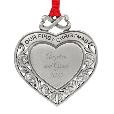 Pewter First Christmas Heart Ornament - All Personalized Ornaments