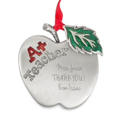 Pewter Personalized Teacher's Apple Ornament - All Christmas Ornaments