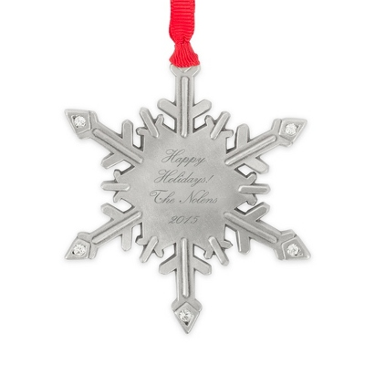 Pewter Personalized Snowflake Ornament - All Personalized Ornaments