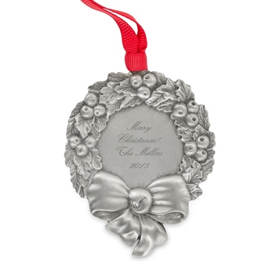 Engraved Pewter Wreath Christmas Ornament
