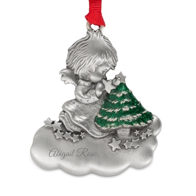 Engraved Pewter Angel Christmas Ornament