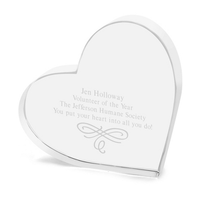 Engraved Crystal Heart Award - $40.00