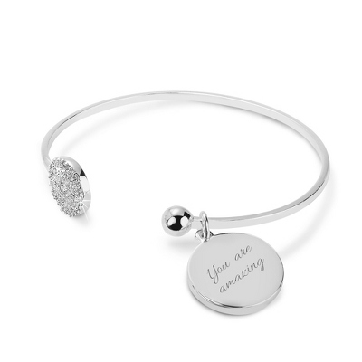 Engraved Silver CZ Circle Open Cuff Bangle with complimentary Classic Beveled Edge Round Keepsake Box