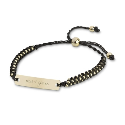 Black and Gold Beaded ID Friendship Bracelet with complimentary Filigree Keepsake Box