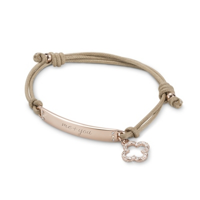 Rose Gold ID Bar with Quatrefoil Friendship Bracelet with complimentary Filigree Keepsake Box