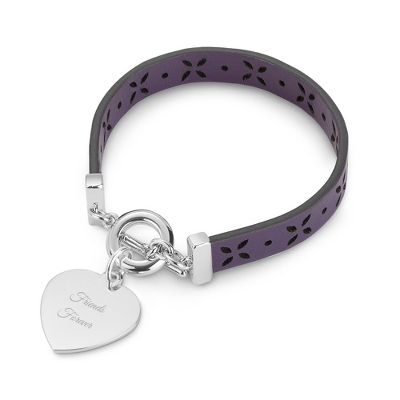Purple Pierced Leather Bracelet with complimentary Filigree Keepsake Box